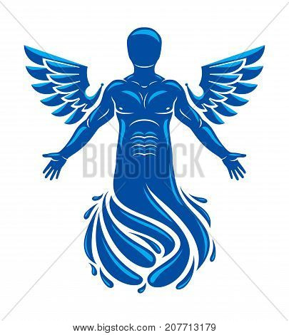Vector graphic illustration of muscular human individual made with bird wings. Pure water is free life Poseidon the god of sea and defender of all waters.