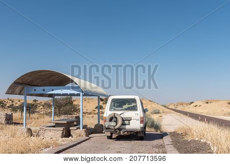 ASKHAM SOUTH AFRICA - JULY 6 2017: A shaded picnic spot on the R360-road between Askham and Upington in the Northern Cape Province of South Africa