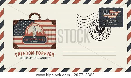 Vector envelope with a postage stamp and rubber stamp. Image of suitcase in colours of american flag with image of New York Statue of Liberty
