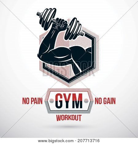 Vector sign composed with muscular sportsman arm holding disc weight dumbbell. No pain no gain lettering. Power lifting competition emblem