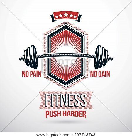 Weight-lifting association emblem vector barbell symbol, sport club
