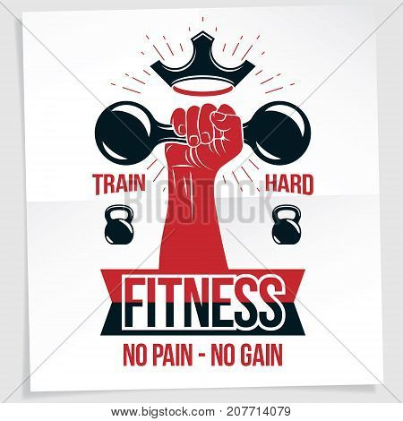 Power lifting competition poster. Vector composition of muscular bodybuilder arm holds dumbbell sport equipment. No pain no gain writing.