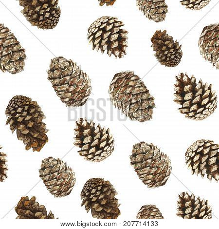 watercolor pattern of pine cones, Christmas trees and cedar, seamless pattern for decorating for the holiday new year and christmas