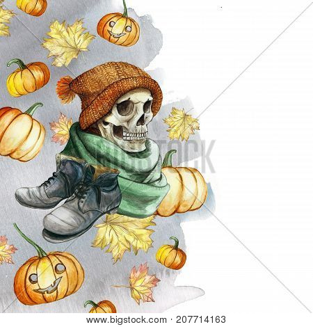 watercolor drawing in the theme of Halloween dull human skull in orange knitted warm woolen hat and green scarf, gray shoes, against the background of red pumpkins and autumn maple leaves, gray ice