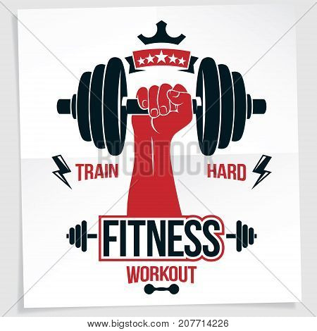 Bodybuilding motivation poster. Vector composition of muscular sportsman arm holds disc weight dumbbell sport equipment. Train hard quote.