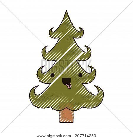 kawaii christmas tree with trunk with tongue out and happiness expression color crayon silhouette on white background vector illustration
