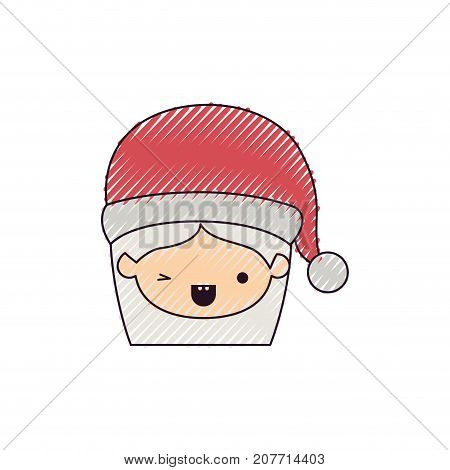 santa claus woman kawaii face with wink eye and happines expression with hat color crayon silhouette on white background vector illustration