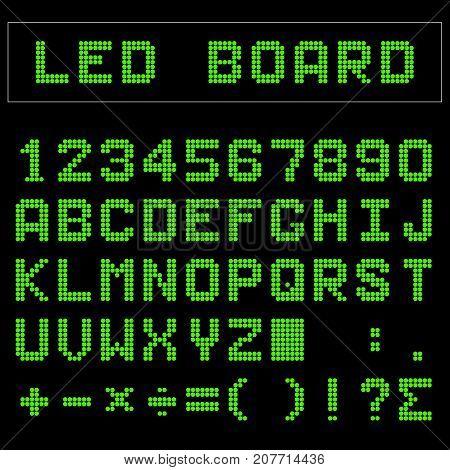 Green LED digital english uppercase font number and mathematics symbol display on black background