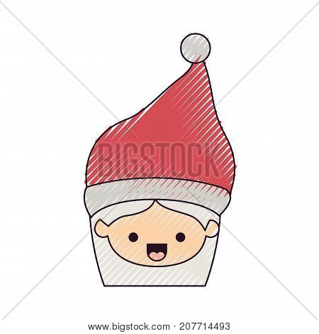 santa claus woman kawaii face happines expression with hat color crayon silhouette on white background vector illustration