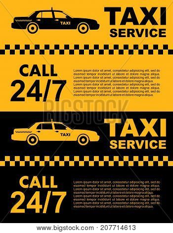 Taxi service concept. Vector yellow and black banner, poster or flyer. Taxi service. Silhouette of taxi car.