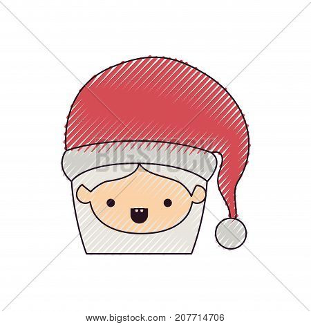 santa claus woman kawaii face with mouth open expression with hat color crayon silhouette on white background vector illustration