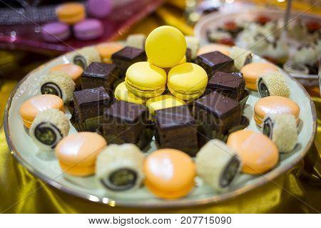 Circular Cake Macaron Or Macaroon Plate