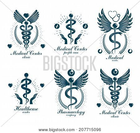 Aesculapius Greek vector abstract logotypes composed with wings heart shapes ecg charts and laurel wreaths. Medical symbols for use in pharmacology business and medical advertisement.