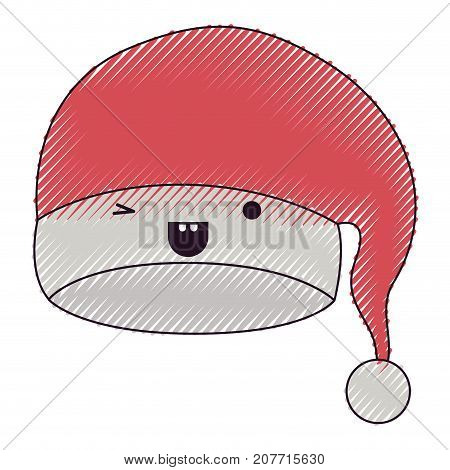 kawaii christmas hat santa claus wink eye expression color crayon silhouette on white background vector illustration