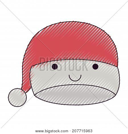 kawaii christmas hat santa claus happiness expression color crayon silhouette on white background vector illustration