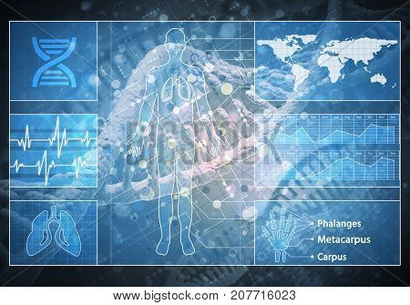 Media medicine background image as DNA research concept. 3D rendering.