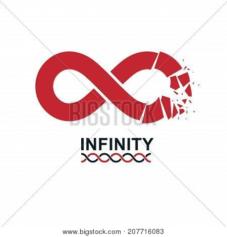 Crashed Infinity Loop conceptual logo vector special sign. Everything Ends idea.