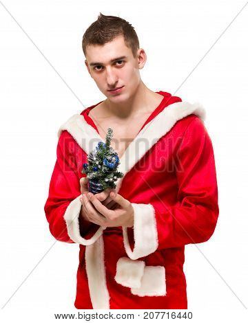 Portrait of macho man in santa costume small Christmas tree isolated over white background