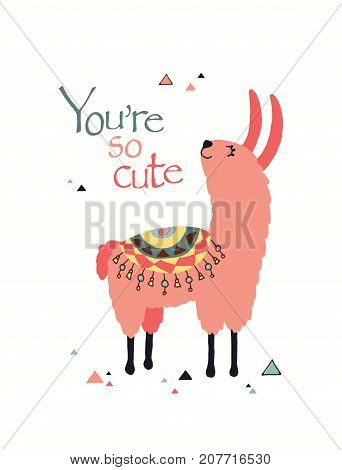 Happy lama card in vector. Good for posters, stickers, cards, notebooks and other childish accessories.