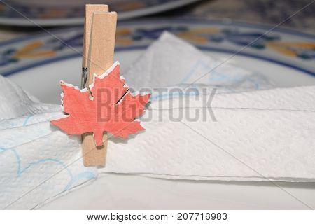 Close Up Of A Placeholder In The Form Of A Canadian Flag