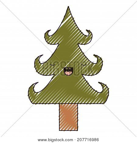 kawaii christmas tree with trunk with eyes closed happiness expression color crayon silhouette on white background vector illustration