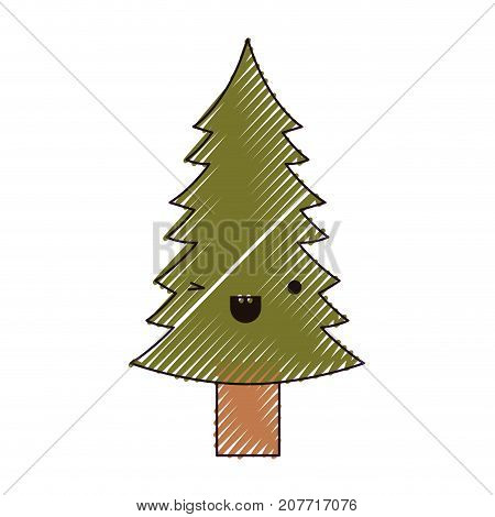 kawaii christmas pine with trunk with wink eye and happiness expression color crayon silhouette on white background vector illustration