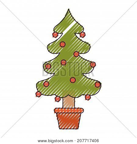 christmas tree with decorative garlands in plantpot color crayon silhouette on white background vector illustration