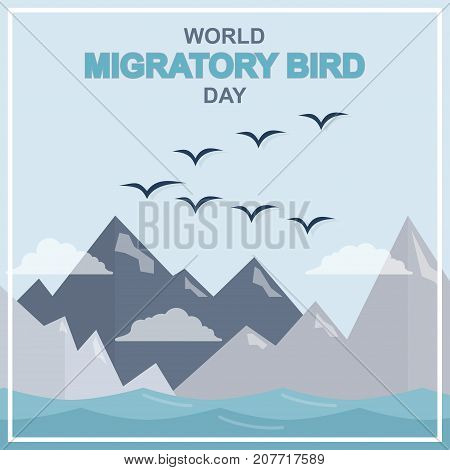 World Migratory Bird Day, May. Birds flying across mountains and sea conceptual illustration vector.