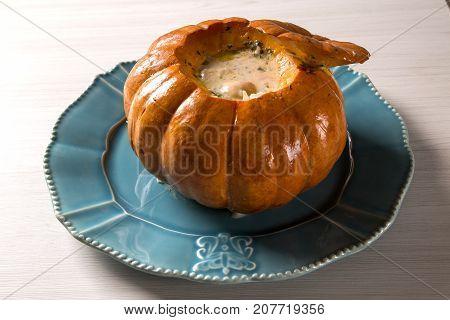 Prawns In Pumpkin (camarao Na Moranga) - Prawns With A Creamy Coconut Milk Sauce Served Inside A Roa