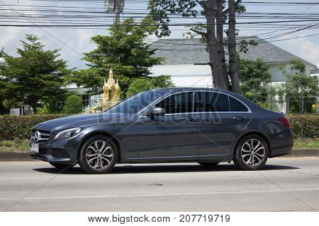 CHIANG MAI THAILAND -SEPTEMBER 23 2017: luxury car  Mercedes Benz CLA 180 Untamed. Photo at radial road no.1001 north of chiangmai city.