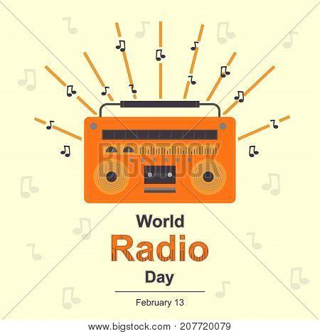 World Radio Day, 13 February. Radio transistor concept illustration vector.