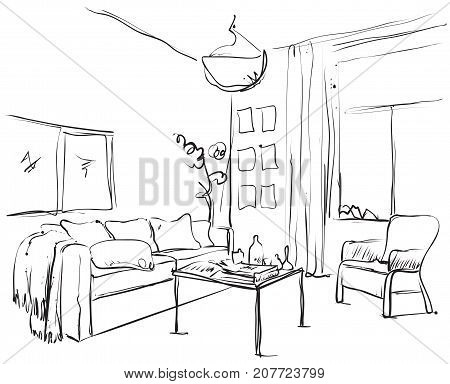 Hand drawn sketch of modern living room interior with a sofa, pillows, small coffee table, bookshelf, lamps and pictures.