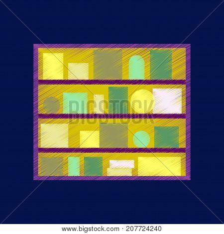 flat shading style icon Bookshelf university room