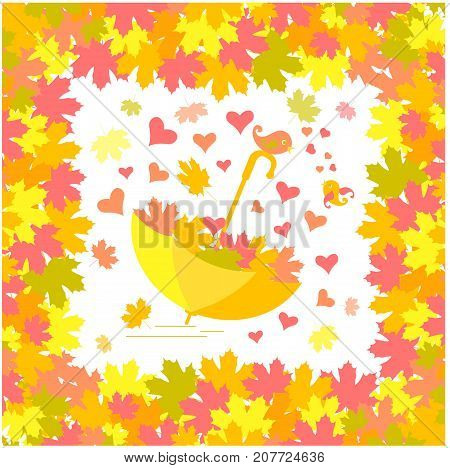 Bright romantic background with maple tree frame, falling maple leaves, umbrella, lovebirds, coloring book anti stress stock vector illustration