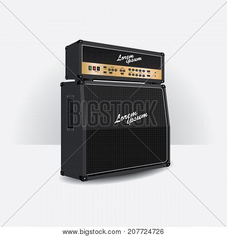Realistic Electric Guitar amplifier set vector illustration