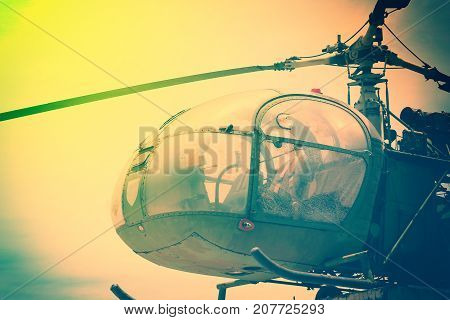 World second war of old vintage helicopter with vintage style for background. Close up of old helicopter out of service for background.