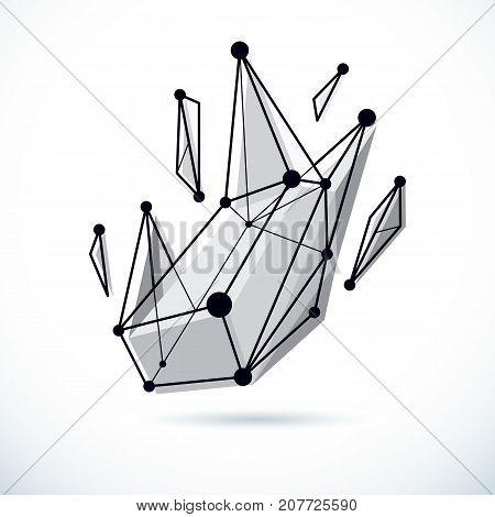 Tech abstract shape vector polygonal figure. Communication technologies modern illustration.