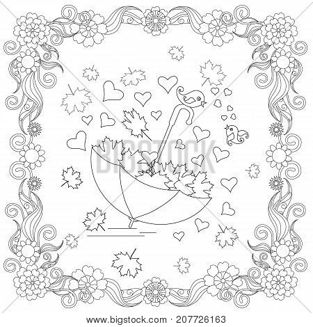 Anti stress abstract umbrella, hearts, lovebirds, maple leaf, square flowering frame hand drawn monochrome vector illustration