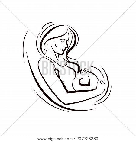 Pregnant female surrounded by heart shape frame hand drawn vector illustration beautiful lady gently touching her belly. Love and tenderness concept.