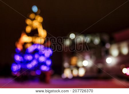 Abstract Christmas Lights Background At Night