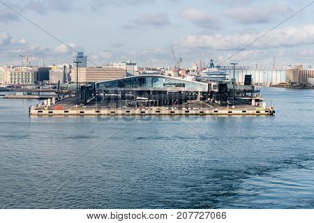 HELSINKI, FINLAND - SEPTEMBER 11: West Terminal 2 at Ferry port on September 11, 2017 in Helsinki Finland. The terminal opened in February 2017.