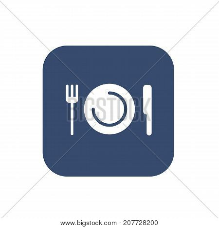 Plate with fork and knife restaurant menu icon. Vector illustration.