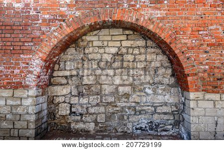 Background of Bricked Up Old Doorway Arch.
