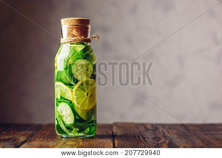 Cleansing Water Infused with Sliced Lemon Cucumber and Fresh Sprigs of Mint. Copy Space on the Right.