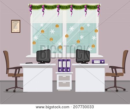 New Year in the office. Workplace for two office workers, decorated with Christmas decoration. There are desks, chairs, computers and other objects in purple color in the picture. Vector image