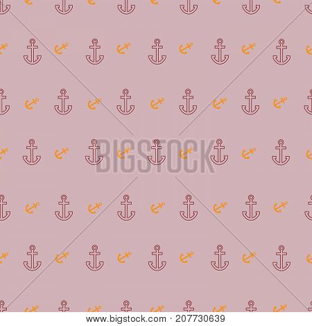 Seamless geometric pattern with outline and incline anchors on pink background
