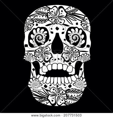 Monochrome sketch of ornate ornamental skull on black stock vector illustration