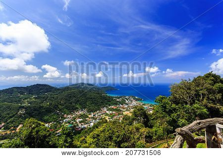View from Big Buddha Taken from high point Phuket Thailand