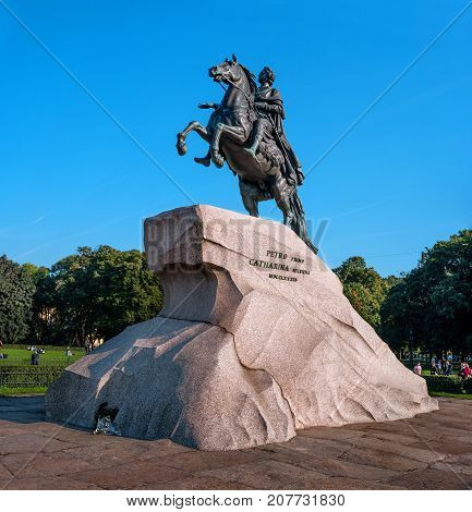 St. Petersburg, Russia - September 24, 2017: Monument to tsar and imperator Peter I the Great -The Bronze Horsemen-. The Bronze Horseman is on Senate Square in St. Petersburg.