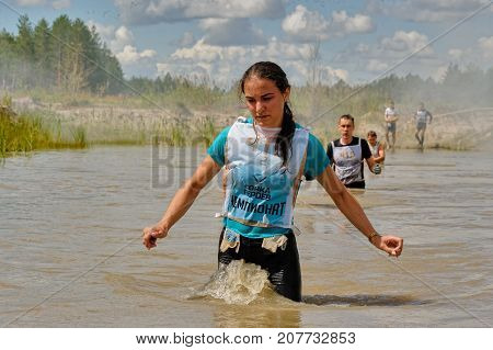 Water Stage Of Heroes Race. Tyumen. Russia